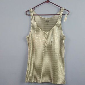Old Navy Tan White Sequins Striped Tank Top Size L
